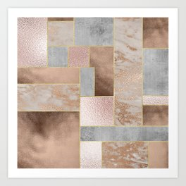 Copper and Blush Rose Gold Marble Quadrangle Geometrical Shapes Art Print