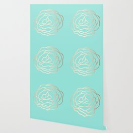 Flower in White Gold Sands on Tropical Sea Blue Wallpaper