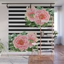 Pink Peonies Black Stripes by eveystudios