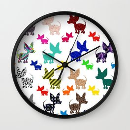 colorful chihuahuas on parade  Wall Clock