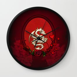 Chinese dragon with hearts Wall Clock