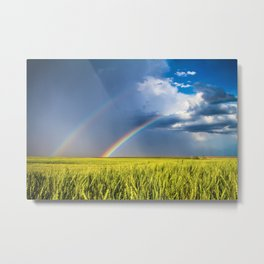 Daydream - Double Rainbow Above Kansas Wheat Field Metal Print