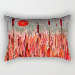 Sunset Over the Cattail Field Rectangular Pillow