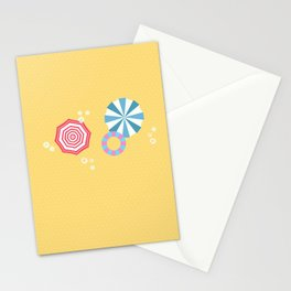 yellow umbrella bikini girl Stationery Cards
