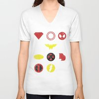 super heroes V-neck T-shirts featuring Super Simple Heroes by Resistance