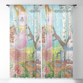 Alice in wonderland Sheer Curtain