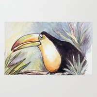 toucan Area & Throw Rugs featuring Toucan by Julie Lemons