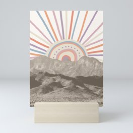 Summerlin Mountain Up // Abstract Vintage Mountains Summer Sun Surf Beach Vibe Drawing Happy Wall Ha Mini Art Print