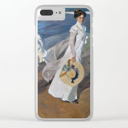 Joaquin Sorolla Y Bastida - Strolling along the seashore Clear iPhone Case