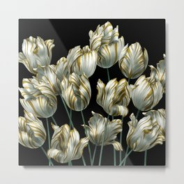 Winter Tulips in Gold. Metal Print