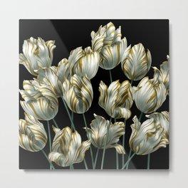 Winter Tulips in Gold. Metal Print
