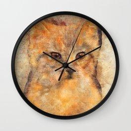 Ginger cat art Wall Clock