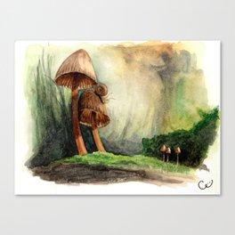 Mushroom Couple Entertains Mr. Snail Canvas Print