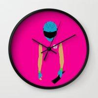 hotline miami Wall Clocks featuring Hotline Miami: Biker by Hazakael