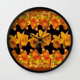 GOLDEN DAFFODILS GARDEN  COFFEE BROWN-BLACK ART Wall Clock