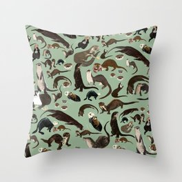 Otters of the World pattern Throw Pillow