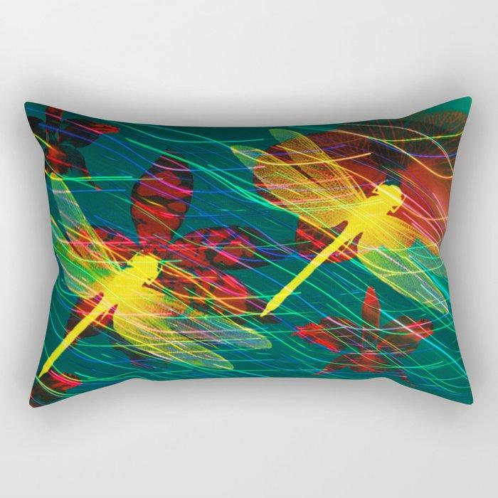 Dragonflies Neon Neon Rectangular Pillow