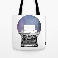 typewriter Tote Bags featuring Typewriter by Rebecca Joy - Joy Art and Design