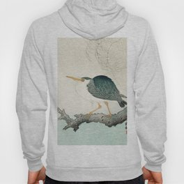 Blue Heron on tree - Japanese vintage woodblock print Hoody