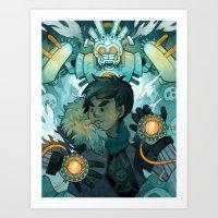 gundam Art Prints featuring Aztec Gundam by CKellyIllustration