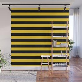 Yellow and Black Honey Bee Horizontal Beach Hut Stripes Wall Mural