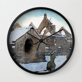 snow covered ruined church Wall Clock
