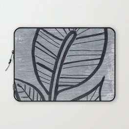 Black Leaves on Silvery Grey Laptop Sleeve