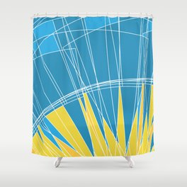 Abstract pattern, digital sunrise illustration Shower Curtain