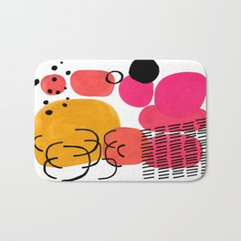 Modern Mid Century Fun Colorful Abstract Minimalist Painting Yellow Pink Bubble Candy Drops Bath Mat