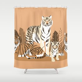 Family,Leaves, Animals ,Plant ,Jungle, Stripes Shower Curtain