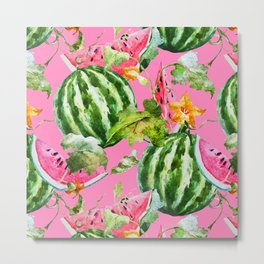 Watermelon Pattern with Pink Background Metal Print