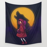 red riding hood Wall Tapestries featuring Red Riding Hood by Blanca Limón