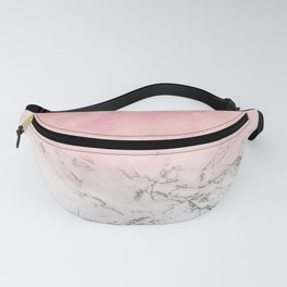 Modern blush pink watercolor ombre white marble Fanny Pack