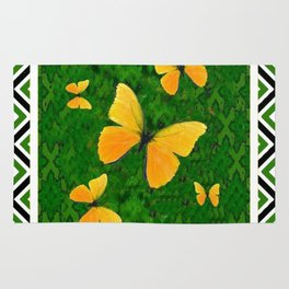 Yellow Butterflies Abstracted Green-white Pattern Art Rug