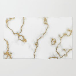 Luxury White Marble With Rich Gold Veins Rug