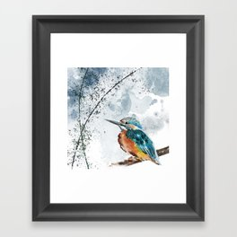 Kingfisher Chinese Style Original Watercolor Painting Design Framed Art Print