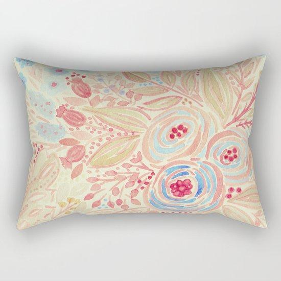 Watercolor .Flower meadow . Rectangular Pillow