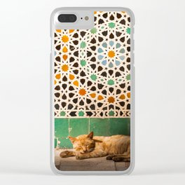 Moroccan Mosaic Kitty Clear iPhone Case