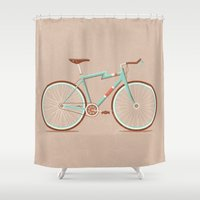 bicycle Shower Curtains featuring Bicycle by Daniel Mackey