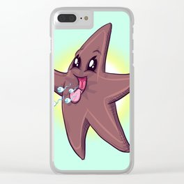 Chocolate Starfish Clear iPhone Case