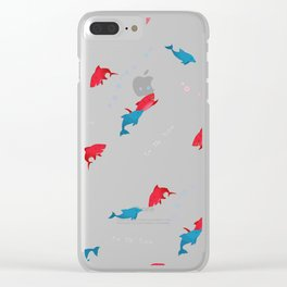Pink Shark and Dolphin Clear iPhone Case
