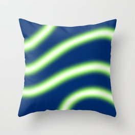 Glowy Neon Light Style Wavy Lines Throw Pillow