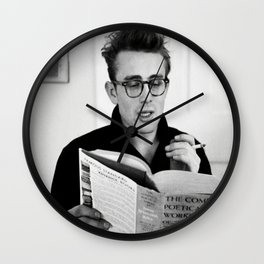 Jam-es Dean with a Book, gift, photography, vintage, cool, home decor , wall art, mens fashion print Wall Clock