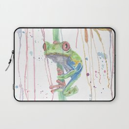 """Watercolor Painting of Picture """"Red Eyed Frog"""" Laptop Sleeve"""
