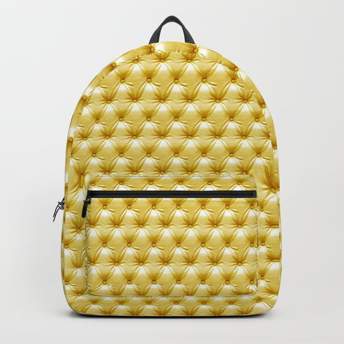 Faux Golden Leather Buttoned Backpack