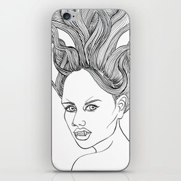 Halloween Vampire Girl Ink Drawing iPhone Skin