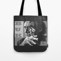 popart Tote Bags featuring Charles Bukowski -Popart - bw by ARTito