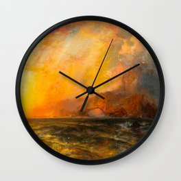 Majestic Golden-Orange Sunset Over the Troubled Atlantic Ocean landscape by Thomas Moran Wall Clock