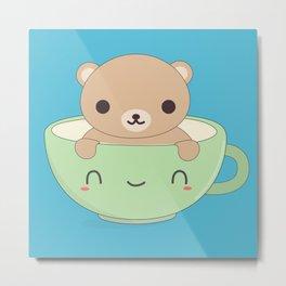 Kawaii Cute Coffee Bear Metal Print