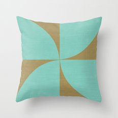 mod petals - teal and brown Throw Pillow